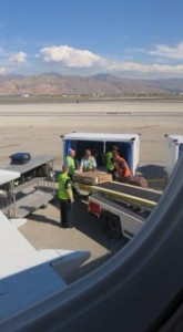 Fietsen inladen op Salt lake City Airport